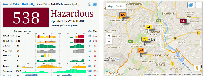 Air pollution in Delhi (India) - Screenshot 22 September 2015 (Air Quality Index China)
