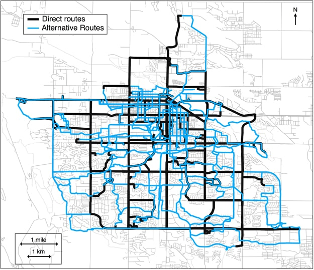 Map of Fort Collins showing the direct (black) and alternative (blue) routes taken by the study participants (Fort Collins Commuter Study - Nature Publishing Group)