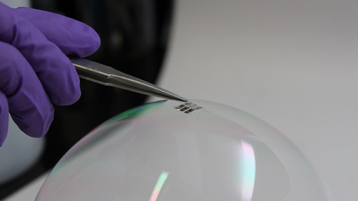 Lightweight Solar Cell Draped On Soap Bubble