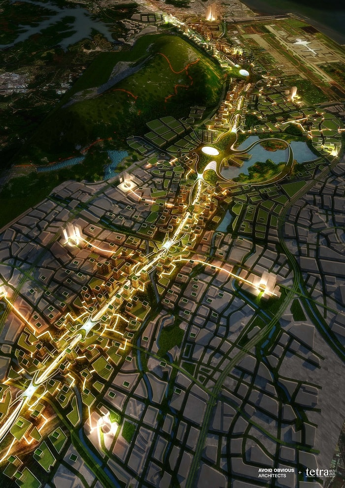 G107 Bao'an by Tetra Architects & Partners and Avoid Obvious in China with drone highway by night - eco urban drones