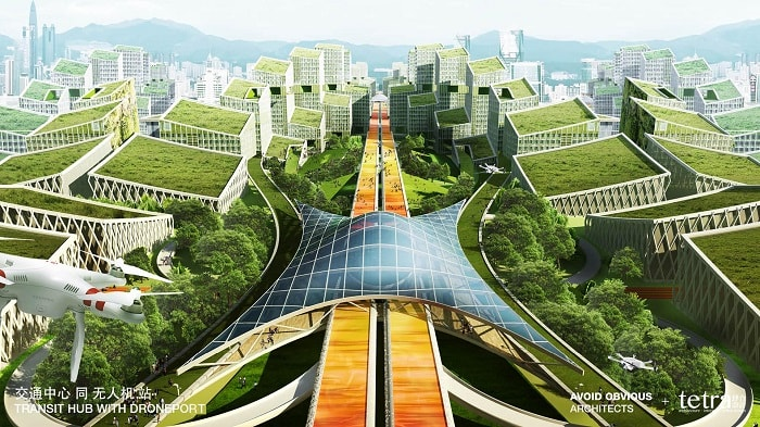 G107 Bao'an by Tetra Architects & Partners and Avoid Obvious in China with drone highway station - eco urban drones
