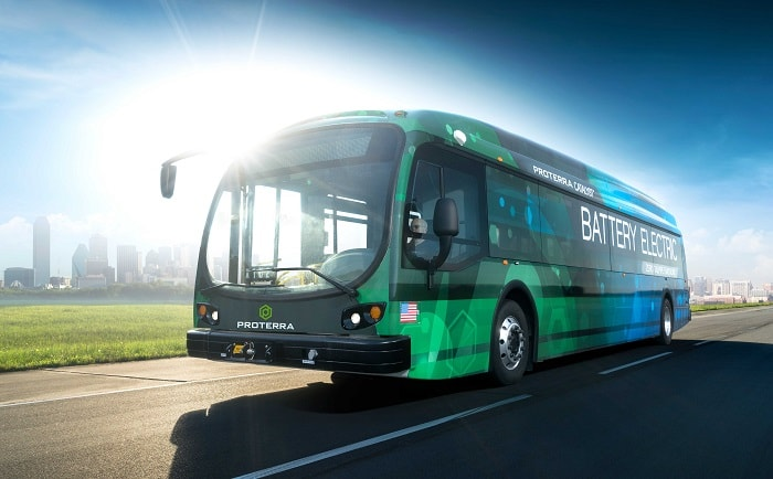 Proterra electric buses - Front of Catalyst E2 series - Green motoring and urban transport