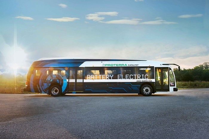 Proterra electric buses - Side view of Catalyst E2 series - Green motoring and urban transport