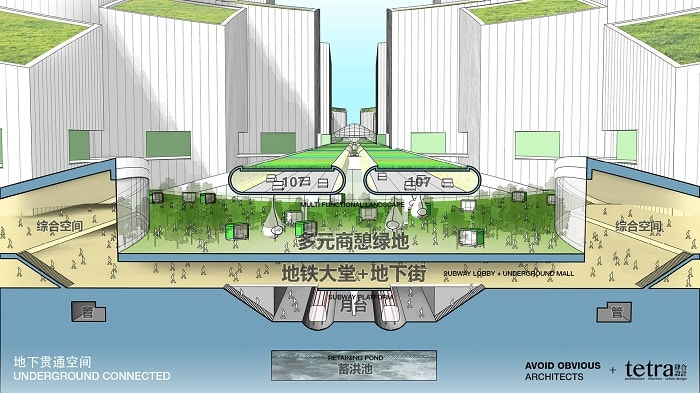 Underground Connection G107 Bao'an by Tetra Architects & Partners and Avoid Obvious in China with drone highway - eco urban drones