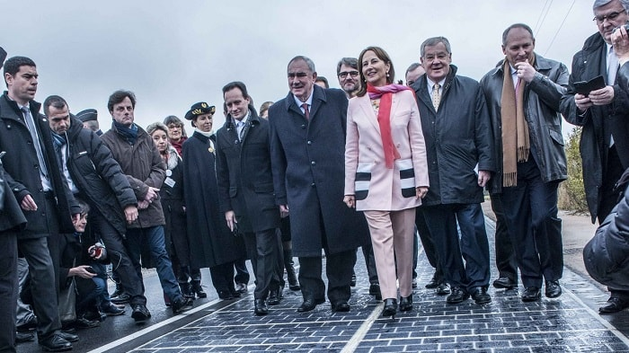Inauguration of solar panel roadway by Ségolène Royal in France - eco urban energy