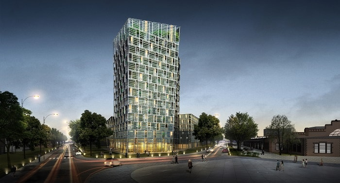 Smart Green Tower by night by Frey Architekten in Freiburg im Breisgau in Germany - green build
