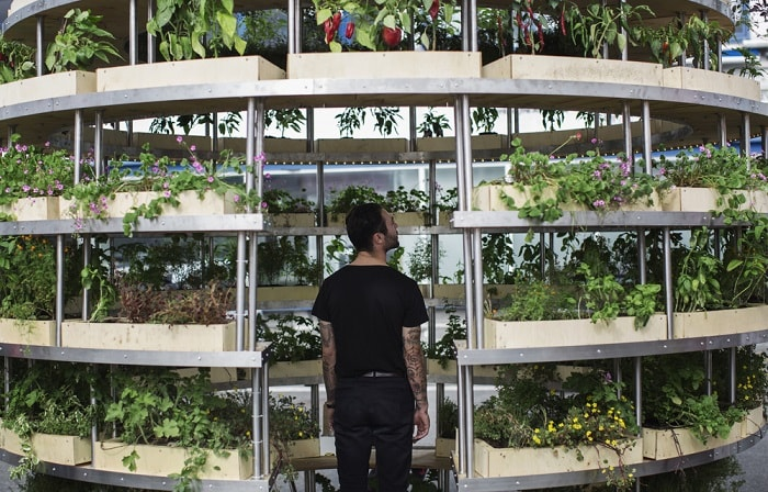 Entering the growroom from space 10 with architects Sine Lindholm and Mads-Ulrik-Husum