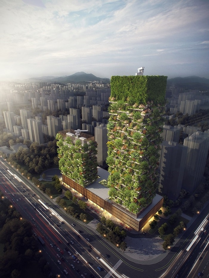 Vertical Forest by Stefano Boeri in nanjing - eco urban green building
