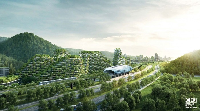 Liuzhou Forest City from the side view