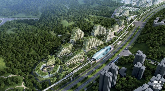 Liuzhou Forest City with station from a bird's eye
