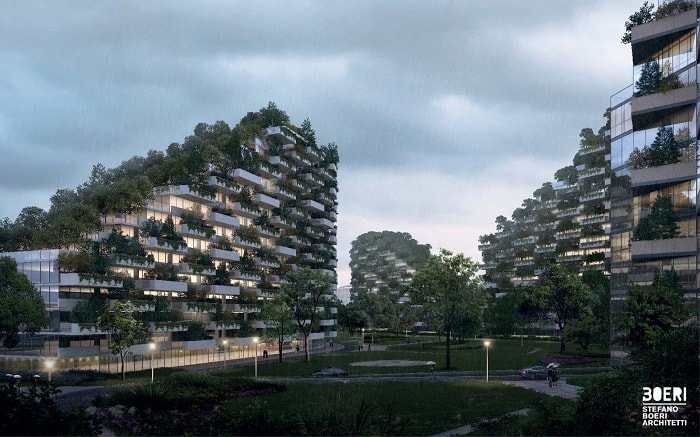 Liuzhou Forest City with tree planted buildings