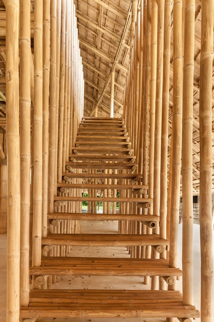 Bamboo building of Panyaden International School in Chiang Mai stair