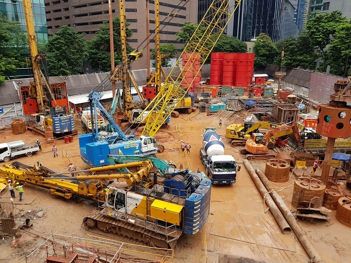 Foundation work for Singapore's Green-Focused Skyscraper CapitaSpring from Capitaland in down town