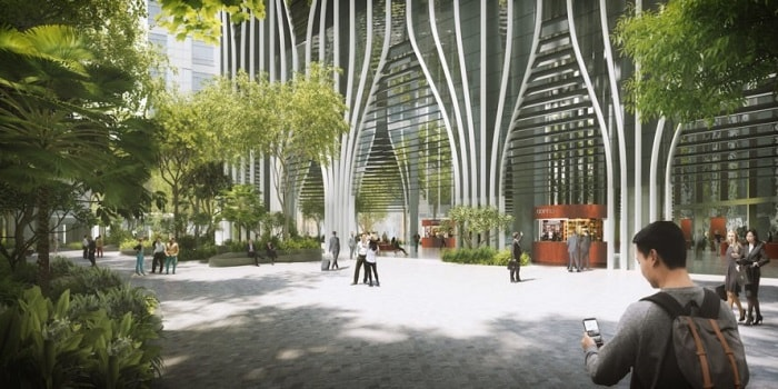 Rendering Singapore's Green-Focused Skyscraper CapitaSpring from Capitaland designed by BIG CRA