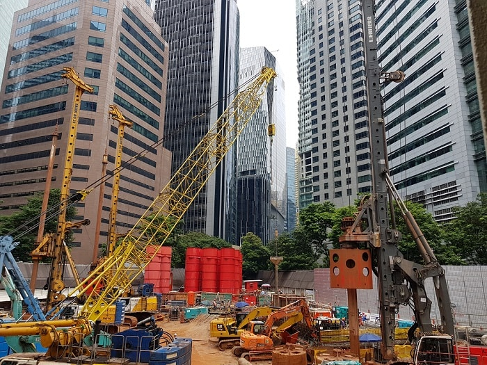Construction site of Singapore's Green-Focused Skyscraper CapitaSpring from Capitaland with skyline - Image by Paul Münzner