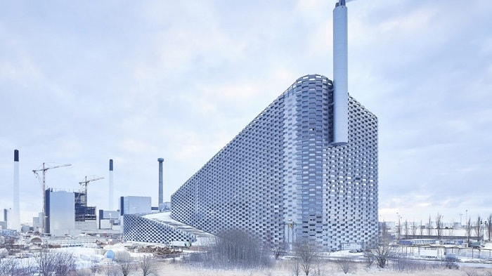 Bjarke Ingels Group Amager Resource Centre with Ski slope in Copenhagen Denmark