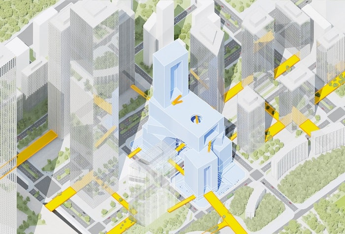 Connections in Vanke 3D City designed by MVRDV in Shenzhen
