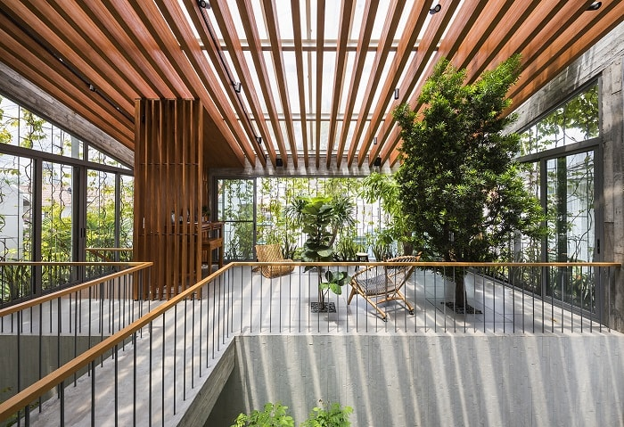 Interior shadow Stepping Park House from Vo Trong Nghia Architects in Vietnam