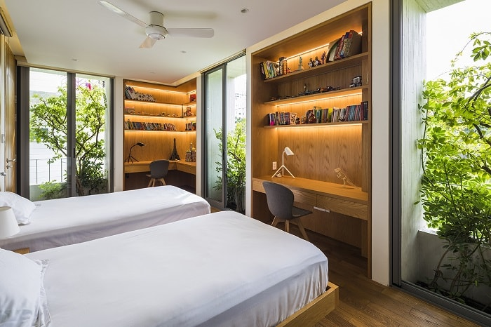 Sleeping room of Stepping Park House from Vo Trong Nghia Architects in Vietnam