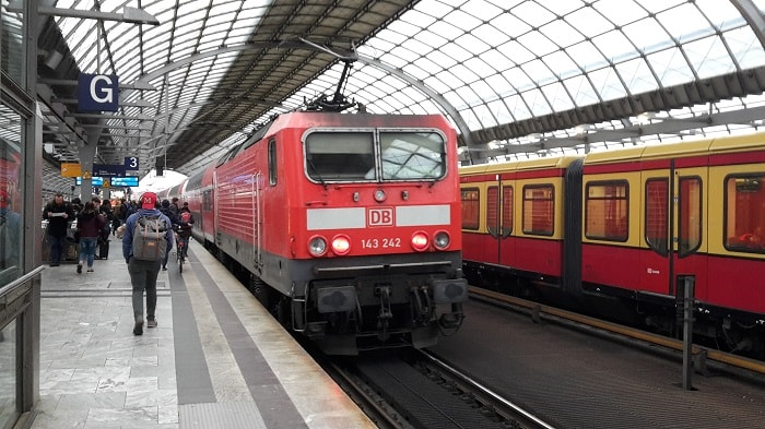 DB train and U-Bahn in Spandau station - Berlin's Public Transport System