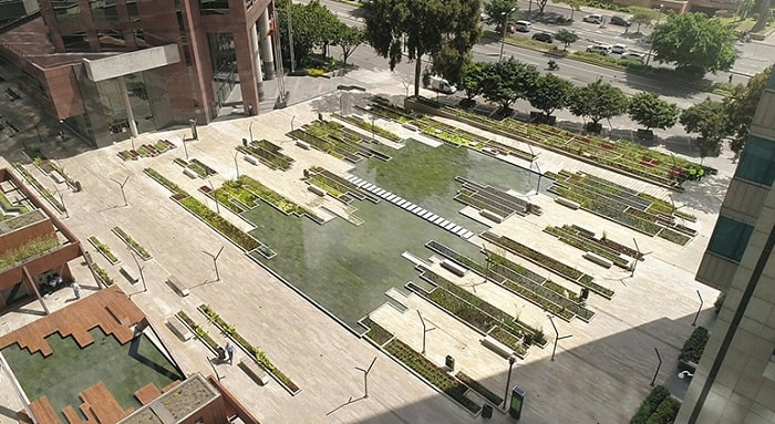Santa Barbara Business Center - Birds view Urban Wetland in Bogota Colombia designed by Obraestudio