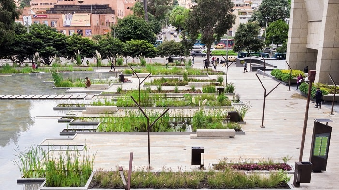Santa Barbara Business Center - Urban Wetland in Bogota Colombia designed by Obraestudio