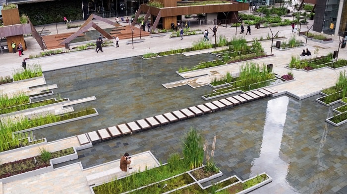 Santa Barbara Business Center - Water Urban Wetland in Bogota Colombia overview designed by Obraestudio