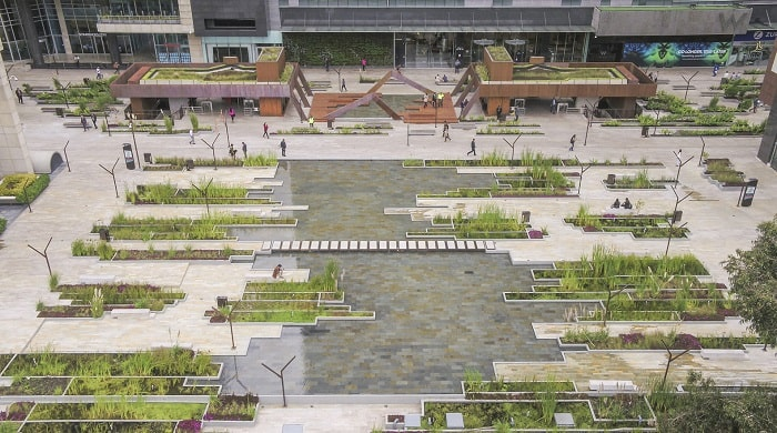 Santa Barbara Business Center - Water and Plants at Urban Wetland in Bogota Colombia designed by Obraestudio