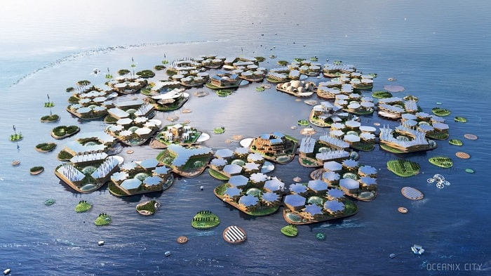 Floating city community by Bjarke Ingels Group (BIG) Oceanix