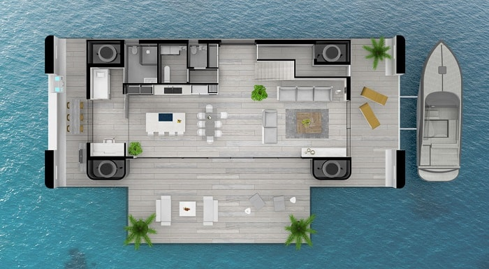 Ground floor plan Green Floating Home aka livable yacht by Waterstudio and Arkup