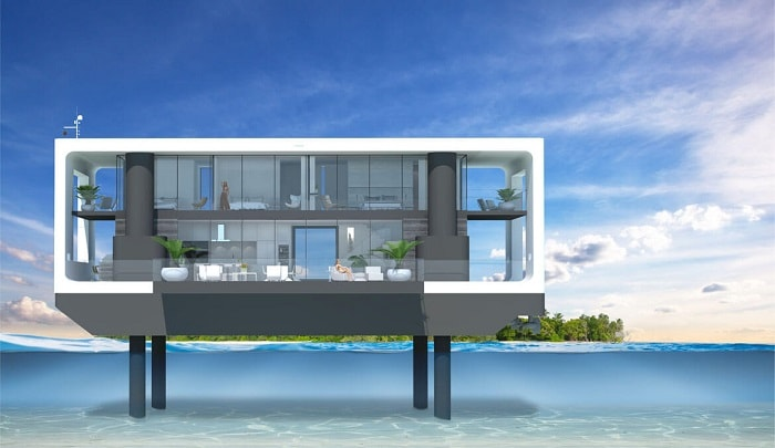 Rendering elevated Green Floating Home aka livable yacht by Waterstudio and Arkup