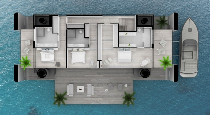 Second floor Green Floating Home aka livable yacht by Waterstudio and Arkup