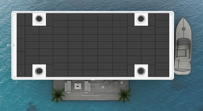 Solar panel roof Green Floating Home aka livable yacht by Waterstudio and Arkup