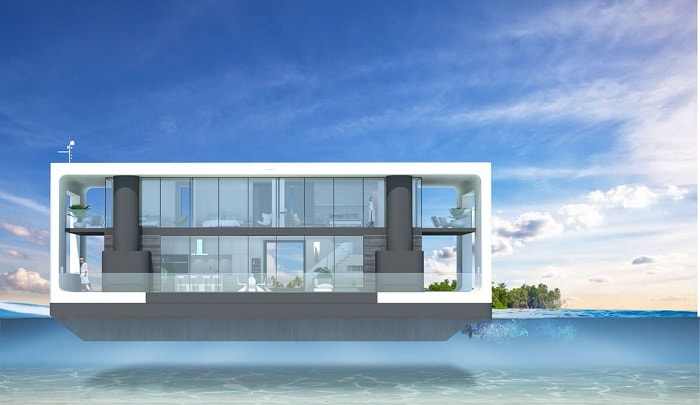 Swimming Green Floating Home aka livable yacht by Waterstudio and Arkup