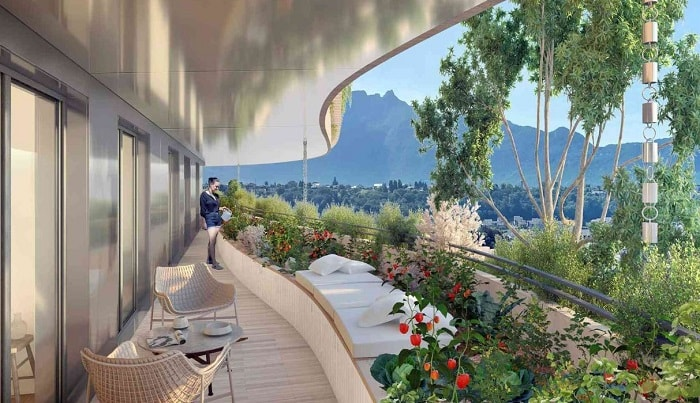 Vincent Callebaut Wins Bit The Foam of Waves to Revive Aix-Les-Bains' Ancient Thermal Baths in France - balcony view