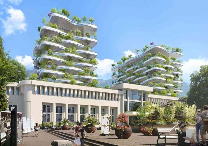 Vincent Callebaut Wins Bit The Foam of Waves to Revive Aix-Les-Bains' Ancient Thermal Baths in France - side view