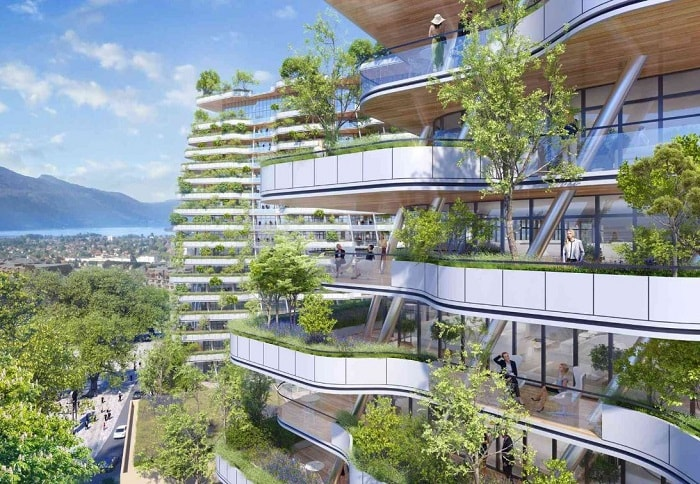 Vincent Callebaut Wins Bit The Foam of Waves to Revive Aix-Les-Bains' Ancient Thermal Baths in France - two balconies