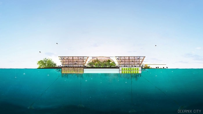 side view of floating city and community by Bjarke Ingels Group (BIG) Oceanix
