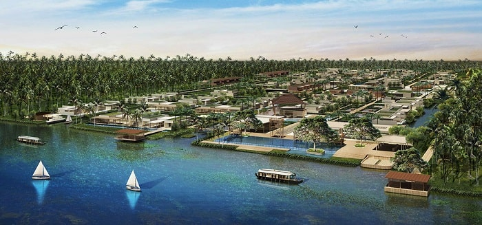 Adira Resort designed by Urbnarc in Vembanad India inspired by Kerala from lake