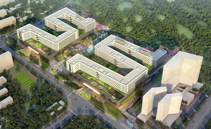 Birds eyeMedical City For Healing - XiangYa Hospital in China desifned by Payette