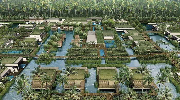 Birds view Adira Resort designed by Urbnarc in Vembanad India inspired by Kerala