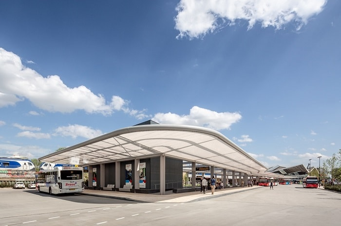 Far view of Self-Sufficient Tilburg Bus Station Transport Hub in The Netherlands by Cepezed