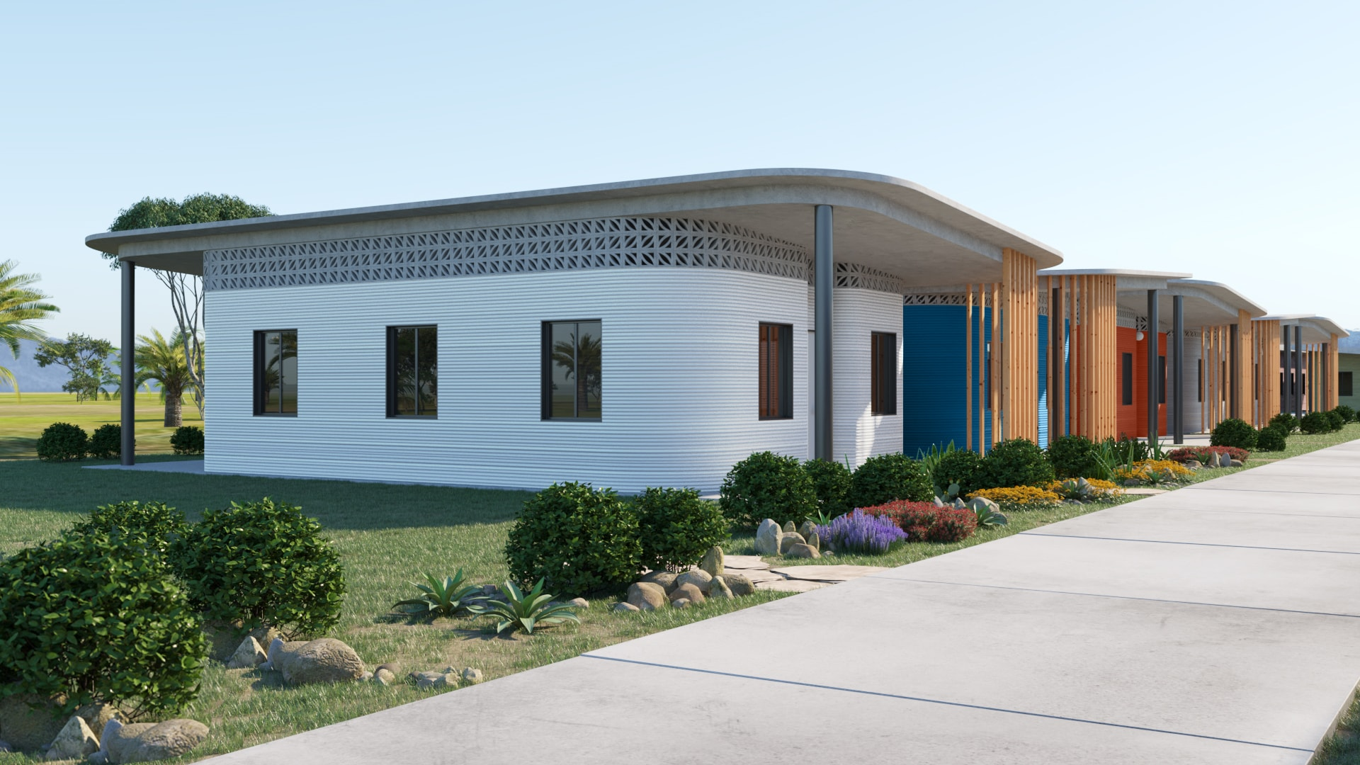 Houses in 3D-Printed Community - Fuseproject and New Story Revolutionizing Homebuilding to End Global Homelessness