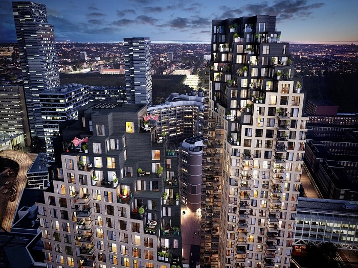 Night view Grotius Towers designed by MVRDV developed by Povast in The Hague Netherlands