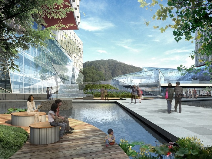 Outdoor Facilities of Medical City For Healing - XiangYa Hospital in China desifned by Payette