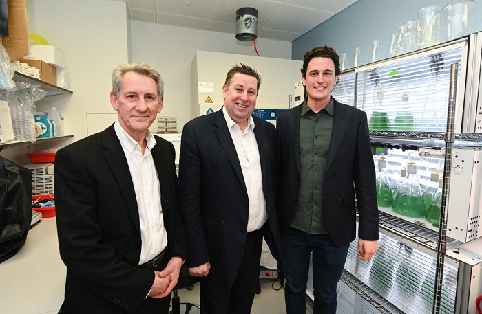 Professor Neil Alford, Cllr Stephen Cowan, and CEO Julian Melchiorri - Biosolar Leaf