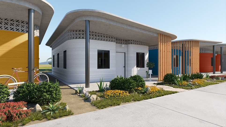 Rendering of 3D-Printed Community - Fuseproject and New Story Revolutionizing Homebuilding to End Global Homelessness