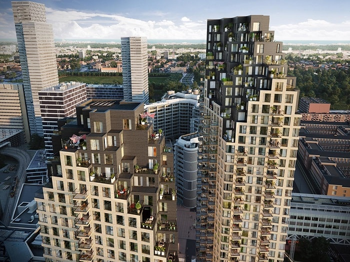 Roof of Grotius Towers designed by MVRDV developed by Povast in The Hague Netherlands