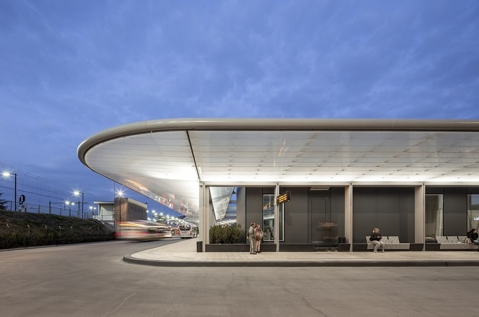 Self-Sufficient Tilburg Bus Station Transport Hub by night in The Netherlands by Cepezed