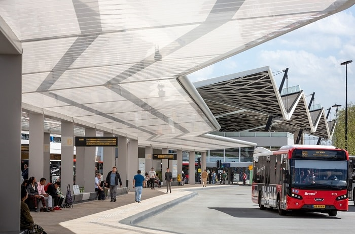 Self-Sufficient Tilburg Bus Station Transport Hub in The Netherlands by Cepezed with bus
